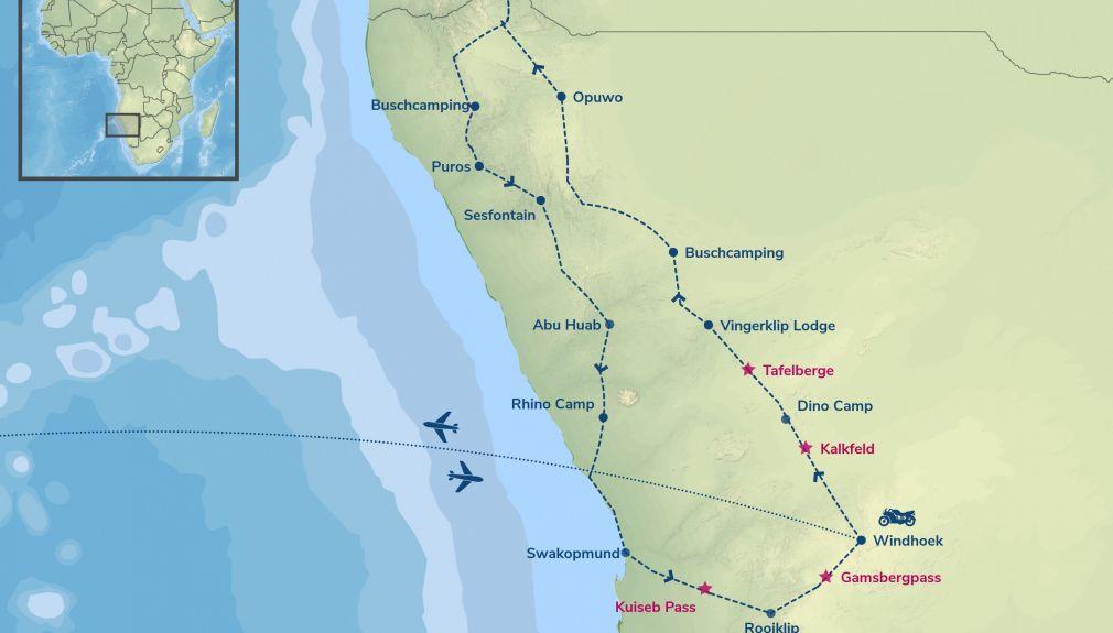 nambibia, afrika, motorrad, motorradreisen, touren, gruppenreise, rundfahrten, enduro, preiswert, günstig, wüste, himba, busch, berg, Windhoek, vingerklip, Opuwo, Ovahimba, Epupa Falls, Puros, Sesfontein, Aba, Palmwag, Aba Huab, Swakopmund, Rooiklip, Walv