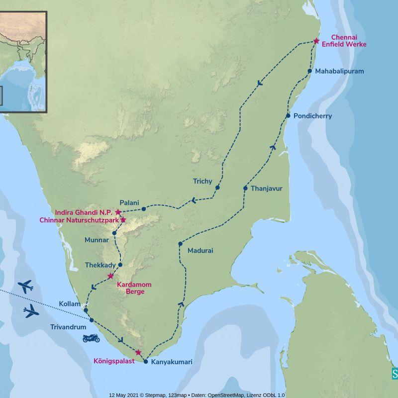 indien, motorrad, motorradreisen, touren, gruppenreise, rundfahrten, enfield, preiswert, günstig, Varkala, Kanyakumari, Madurai, Thanjavur, Pondicherry, Mahabalipuram, Mamallapuram, chennai, Mahabalipuram, Trichy, Palani, Munnar, Thekkady, Kollam, Varkala
